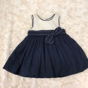 NWOT blue and beige baby girl dress
